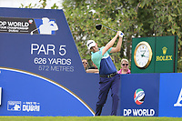 Russell Knox (SCO) on the 14th tee during the 3rd round of the DP World Tour Championship, Jumeirah Golf Estates, Dubai, United Arab Emirates. 17/11/2018<br /> Picture: Golffile | Fran Caffrey<br /> <br /> <br /> All photo usage must carry mandatory copyright credit (© Golffile | Fran Caffrey)