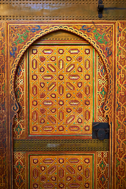 Traditional Berber designed painted door panels in the Mauseleum of Moulay Ismaïl Ibn Sharif , reigned 1672–1727. A UNESCO World Heritage Site .Meknes, Meknes-Tafilalet, Morocco.