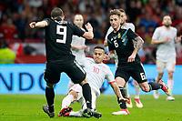 Spain's Thiago Alcantara (c) and Argentina's Gonzalo Pipita Higuain (l) and Lucas Biglia during international friendly match. March 27,2018. *** Local Caption *** © pixathlon<br /> Contact: +49-40-22 63 02 60 , info@pixathlon.de