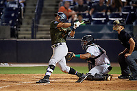 Tampa Tarpons Tyler Hill (9) at bat in front of catcher Hendrik Clementina (24) and umpire Dillon Wilson during a Florida State League game against the Daytona Tortugas on May 18, 2019 at George M. Steinbrenner Field in Tampa, Florida.  Daytona defeated Tampa 7-6.  (Mike Janes/Four Seam Images)