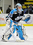 30 October 2010: University of Maine Black Bears' goaltender Shawn Sirman, a Sophomore from Blezard Valley, Ontario, warms up prior to a game against the University of Vermont Catamounts at Gutterson Fieldhouse in Burlington, Vermont. The Black Bears defeated the Catamounts 3-2 in sudden death overtime. Mandatory Credit: Ed Wolfstein Photo