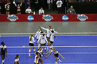 15 December 2007: Stanford Cardinal Bryn Kehoe (4), Cassidy Lichtman (8), Foluke Akinradewo (16), Alix Klineman (10), Gabi Ailes (9), and Cynthia Barboza (1) during Stanford's 25-30, 26-30, 30-23, 30-19, 8-15 loss against the Penn State Nittany Lions in the 2007 NCAA Division I Women's Volleyball Final Four championship match at ARCO Arena in Sacramento, CA.