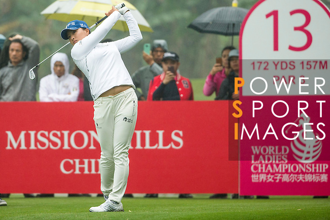 Jin Young Ko of South Korea tees off at the 13th hole during Round 4 of the World Ladies Championship 2016 on 13 March 2016 at Mission Hills Olazabal Golf Course in Dongguan, China. Photo by Victor Fraile / Power Sport Images