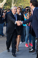 Carlos Solchaga visits San Isidro funeral home following the death of Miguel Boyer in Madrid, Spain. September 29, 2014. (ALTERPHOTOS/Victor Blanco) /nortephoto.com
