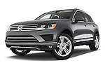 Stock pictures of low aggressive front three quarter view of a 2015 Volkswagen Touareg Executive 5 Door Sport Utility Vehicle Low Aggressive