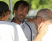 WELLINGTON, FL - APRIL 25:  Adolfo Cambiaso of Valiente in the team tent, after Valiente wins the 113th US Open Polo Championship. Scenes from the US Open Polo Championship Final, at the International Polo Club Palm Beach, on April 25, 2017 in Wellington, Florida. (Photo by Liz Lamont/Eclipse Sportswire/Getty Images)