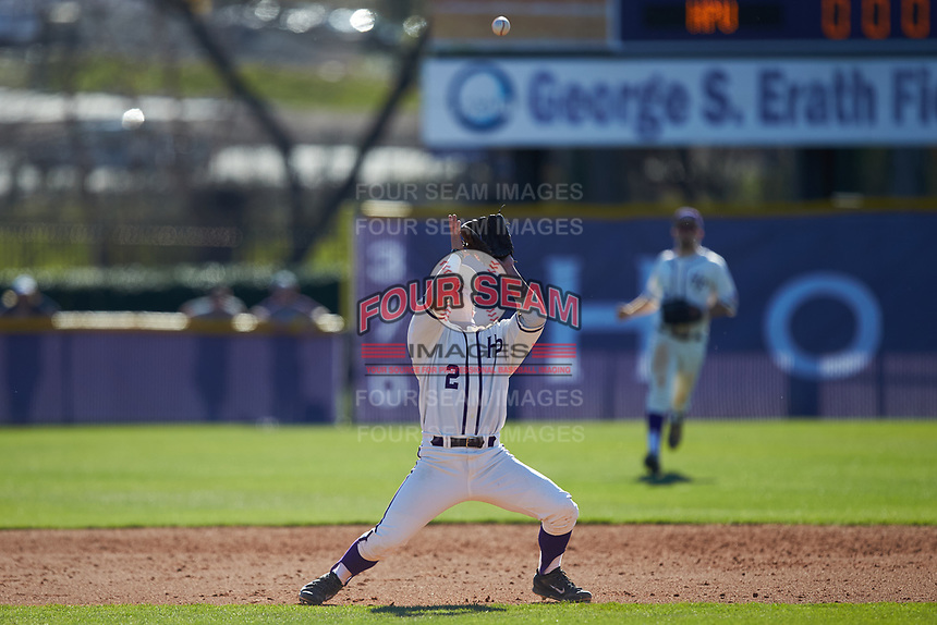 High Point Panthers second baseman Hunter Lee (2) settles under a pop fly during the game against the NJIT Highlanders at Williard Stadium on February 19, 2017 in High Point, North Carolina. The Panthers defeated the Highlanders 6-5. (Brian Westerholt/Four Seam Images)