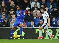 Cardiff City's Armand Traore under pressure from Bolton Wanderers' Filipe Morais<br /> <br /> Photographer Kevin Barnes/CameraSport<br /> <br /> The EFL Sky Bet Championship - Cardiff City v Bolton Wanderers - Tuesday 13th February 2018 - Cardiff City Stadium - Cardiff<br /> <br /> World Copyright &copy; 2018 CameraSport. All rights reserved. 43 Linden Ave. Countesthorpe. Leicester. England. LE8 5PG - Tel: +44 (0) 116 277 4147 - admin@camerasport.com - www.camerasport.com