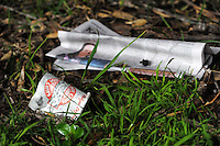 Rubbish outside the ground during the Central League football match between Miramar Rangers (blue and black) and Western Suburbs (red and white) at David Farrington Park, Wellington, New Zealand on Saturday, 1 August 2015. Photo: Dave Lintott / lintottphoto.co.nz