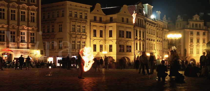 The Old Town Square in Prague at night. Prague, Czech Republic.