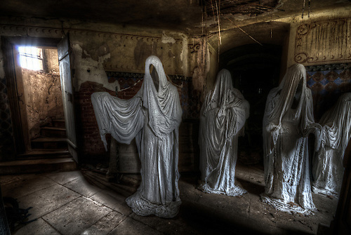 Ghostly church.<br /> These ghost are all made by an aritst Petr Koukl<br /> Each ghost represents a German praying just before the war.