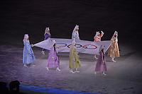 OLYMPIC GAMES: PYEONGCHANG: 09-02-2018, PyeongChang Olympic Stadium, Olympic Games, Opening Ceremony, Entrance Olympic flag, ©photo Martin de Jong