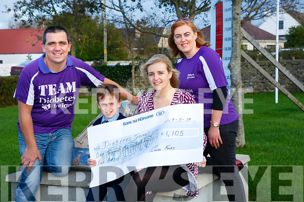 Ardfert local parents Denis Foley and Cecilia Foley who's son  Killian  was diagnosed with the condition aged 7 in January 2016 presented a  cheque for €1,105 to Vicky Doyle of Diabetes Ireland after recent coffee morning on Tuesday