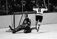 Seals vs Pittsburg Penguins...#8 Val Fonteyne scores against Seal goalie Cris Worthy(1970 photo by Ron Riesterer)