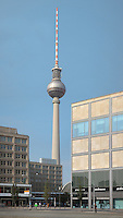 Alexanderplatz, with the Fernsehturm or TV Tower in the distance, built 1965-69 in the former East Berlin, Germany. The tower is 368m tall and the tallest structure in Germany. Picture by Manuel Cohen