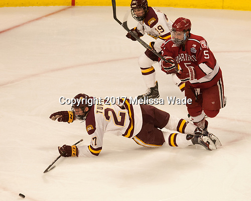 Parker Mackay (UMD - 39), Riley Tufte (UMD - 27), Clay Anderson (Harvard - 5) - The University of Minnesota Duluth Bulldogs defeated the Harvard University Crimson 2-1 in their Frozen Four semi-final on April 6, 2017, at the United Center in Chicago, Illinois.