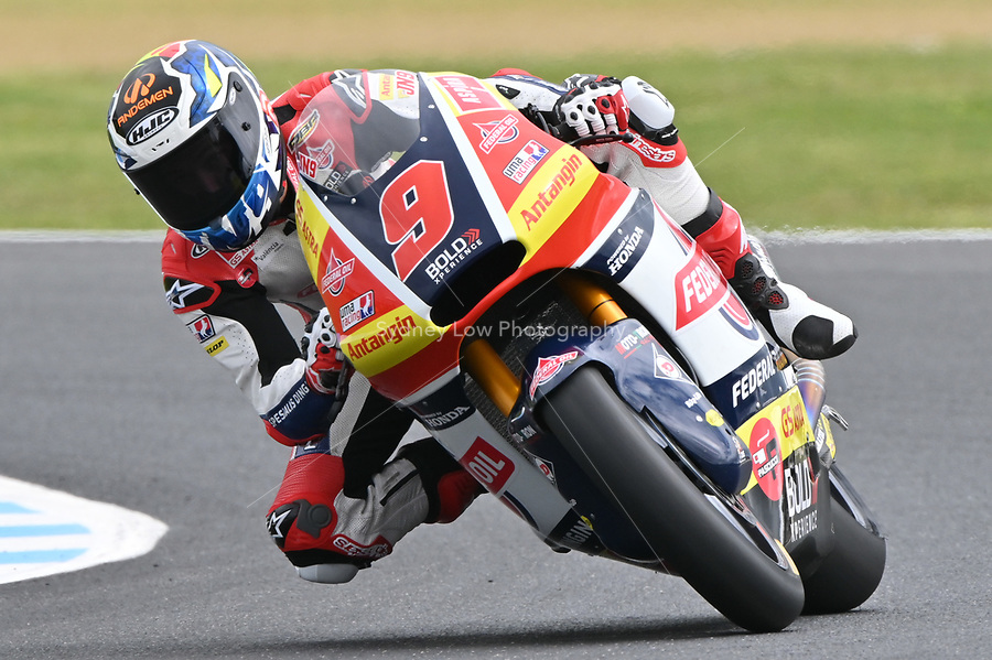 October 27, 2018: Jorge Navarro (SPA) on the No.9 KALEX from Federal Oil Gresini Moto2 during the Moto2 practice session three at the 2018 MotoGP of Australia at Phillip Island Grand Prix Circuit, Victoria, Australia. Photo Sydney Low
