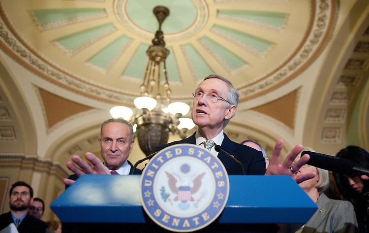 UNITED STATES - JULY 29: Senate Majority Leader Harry Reid, D-Nev., flanked by Sens. Charles Schumer, Richard Durbin and Patty Murray, speaks to the media about the debt ceiling following a Senate Democrats' caucus meeting in the Capitol on Friday, July 29, 2011. (Photo By Bill Clark/Roll Call)