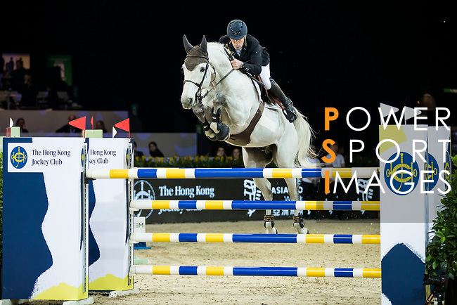 Roger Yves Bost of France riding Pegase du Murier competes in the Hong Kong Jockey Club Trophy during the Longines Masters of Hong Kong at the Asia World Expo on 09 February 2018, in Hong Kong, Hong Kong. Photo by Ian Walton / Power Sport Images