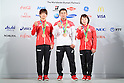 (L-R) Ami Kondo, Naohisa Takato, Hiromi Miyaka (JPN), <br /> AUGUST 7, 2016 : <br /> Bronze Medalist Ami Kondo, Naohisa Takato and Hiromi Miyaka of Japan<br /> during the Press Conference <br /> for the Rio 2016 Olympic Games<br /> at the Japan House in Rio de Janeiro, Brazil. <br /> (Photo by AFLO SPORT)