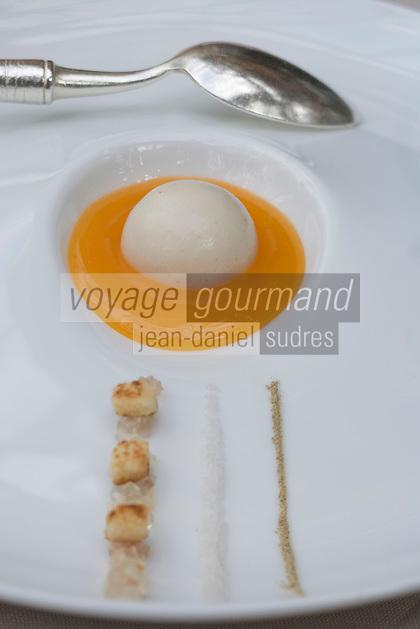 Europe/France/Rhône-Alpes/74/Haute-Savoie/Annecy-le-Vieux:Meurette d'inversé d'oeuf au plat recette de Laurent Petit  Chef du  Restaurant Le Clos des Sens
