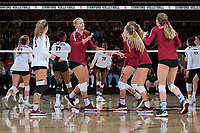 STANFORD, CA - September 9, 2018: Morgan Hentz, Kathryn Plummer,  at Maples Pavilion. The Stanford Cardinal defeated #1 ranked Minnesota 3-1 in the Big Ten / PAC-12 Challenge.