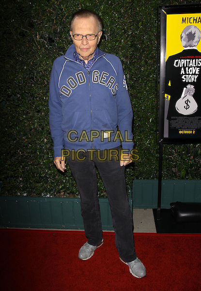 "LARRY KING .""Capitalism: A Love Story"" Los Angeles Premiere held At AMPAS Samuel Goldwyn Theater, Beverly Hills, California, USA..September 15th, 2009.full length jeans denim blue dodgers top glasses .CAP/ADM/KB.©Kevan Brooks/AdMedia/Capital Pictures."