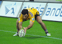 Nehe Milner-Skudder touches the ball dead in goal during the Super Rugby match between the Hurricanes and Sharks at Westpac Stadium, Wellington, New Zealand on Saturday, 9 May 2015. Photo: Dave Lintott / lintottphoto.co.nz