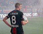 15.02.2020, Stadion an der Wuhlheide, Berlin, GER, 1.FBL, 1.FC UNION BERLIN  VS. Bayer Leverkusen, <br /> DFL  regulations prohibit any use of photographs as image sequences and/or quasi-video<br /> im Bild Leverkusener-Fanblock mit Pyro, Lars Bender (Bayer Leverkusen #8)<br /> <br /> <br />      <br /> Foto © nordphoto / Engler