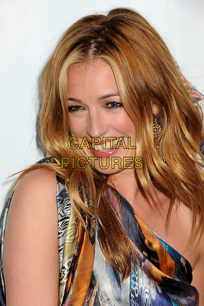 CAT DEELEY.2nd Annual Genlux Britweek Designer of the Year Fashion Awards held at Smashbox Studios Hollywood, West Hollywood, California, USA..May 8th, 2010.headshot portrait  blue one shoulder grey gray orange white smiling pattern print .CAP/ADM/BP.©Byron Purvis/AdMedia/Capital Pictures.