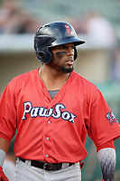 Pawtucket Red Sox right fielder Aneury Tavarez (20) during a game against the Rochester Red Wings on May 19, 2018 at Frontier Field in Rochester, New York.  Rochester defeated Pawtucket 2-1.  (Mike Janes/Four Seam Images)
