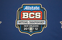 BCS Championship backdrop is pictured during the Alabama Offensive Press Conference at Marriott Hotel at the Convention Center on January 5th, 2011.