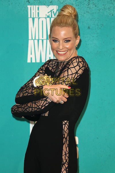 Elizabeth Banks.2012 MTV Movie Awards held at the Gibson Amphitheatre, Universal City, California, USA..3rd June 2012.half length black dress sheer pattern hair up bun jumpsuit award trophy winner smiling .CAP/ADM/SLP/LS.©Lee Sherman/Starlitepics/AdMedia/CapitalPictures.