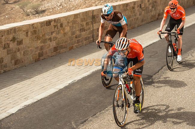 The breakaway featuring Adam de Vos (CAN) Rally-UHC, Nathan Van Hooydonck (BEL) CCC Team, Stijn Vandenbergh (BEL) AG2R La Mondiale during Stage 6 of the 10th Tour of Oman 2019, running 135.5km from Al Mouj Muscat to Matrah Corniche, Oman. 21st February 2019.<br /> Picture: ASO/Kåre Dehlie Thorstad | Cyclefile<br /> All photos usage must carry mandatory copyright credit (© Cyclefile | ASO/Kåre Dehlie Thorstad)