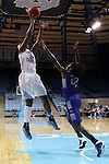 21 December 2013: North Carolina's Xylina McDaniel (34) and High Point's Latrice Phelps (22). The University of North Carolina Tar Heels played the High Point University Panthers in an NCAA Division I women's basketball game at Carmichael Arena in Chapel Hill, North Carolina. UNC won the game 103-71.