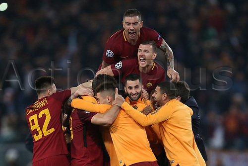 10th April 2018, Stadio Olimpico, Rome, Italy; UEFA Champions League football, quarter final, second leg; AS Roma versus FC Barcelona; players of AS Roma celebrate after defeating Barcelona 3-0 to make the semi-final
