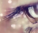 Close up of a female eye with lashes and reflections