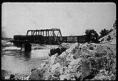 D&amp;RGW #68 pulling freight over steel bridge.<br /> D&amp;RGW  Otowi ?, NM
