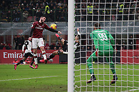 Davide Calabria of AC Milan handles the ball to concede a penalty to Cristiano Ronaldo of Juventus s scissor kick during the Coppa Italia match at Giuseppe Meazza, Milan. Picture date: 13th February 2020. Picture credit should read: Jonathan Moscrop/Sportimage PUBLICATIONxNOTxINxUK SPI-0487-0018 <br /> Fallo di mano di Davide Calabria su rovesciata di Cristiano Ronaldo <br /> Ac Milan Vs Juventus Coppa Italia <br /> Photo Jonathan Moscrop/Sportimage/Imago Insidefoto <br /> ITALY ONLY