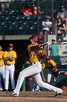 Andrew Wright #35 of the USC Trojans bats against the Northwestern Wildcats at Dedeaux Field on  February 16, 2014 in Los Angeles, California. USC defeated Northwestern, 13-6. (Larry Goren/Four Seam Images)