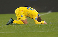 Calcio, Champions League: Gruppo E - Roma vs Bate Borisov. Roma, stadio Olimpico, 9 dicembre 2015.<br /> Bate Borisov's Igor Stasevich reacts during the Champions League Group E football match between Roma and Bate Borisov at Rome's Olympic stadium, 9 December 2015.<br /> UPDATE IMAGES PRESS/Riccardo De Luca