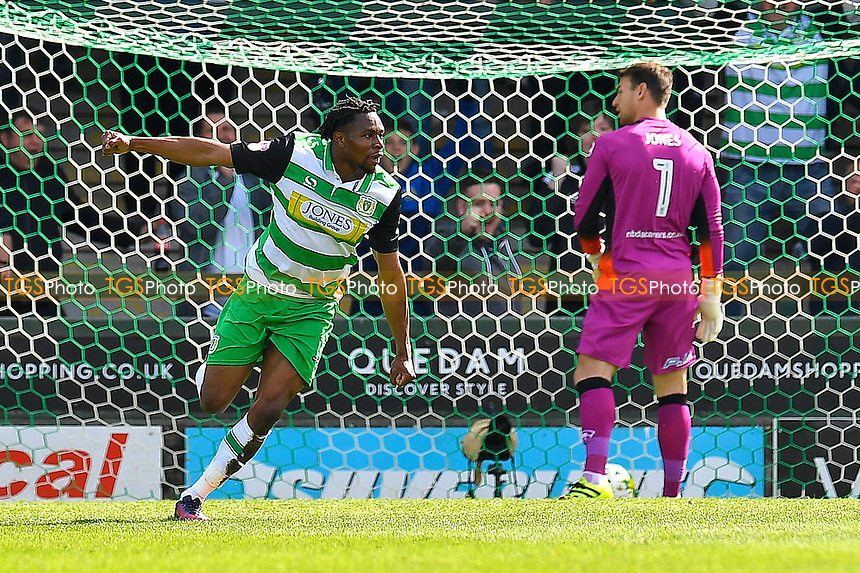 Jean-Louis Akpa Akpro of Yeovil Town scores the first goal and celebrates  during Yeovil Town vs Stevenage, Sky Bet EFL League 2 Football at Huish Park on 29th April 2017