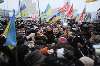 Bath of crowd for former president of Georgia Mikhail Saakashvili supports Ukrainian democratic movement in Kiev, as protests against current government and president Yanukovich spread around the country.