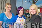 Shave & Dye: Breda Hayes from Duagh who had her hair dyed purple in ordere to raise funds for the Irish Cancer Society's Shave or Dye Fundraising  campaign pictured with Michelle Stack, Brosna and Agnes Mauncell, Ardfert in Listowel on Friday (follow on story ref Sinead Kelliher)