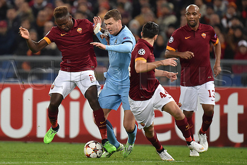 10.12.2014. Rome, Italy. UEFA Champions League Group E match between AS Roma 0-2 Manchester City at Stadio Olimpico in Rome Mapou Yanga-Mbiwa Roma, Edin Dzeko Manchester, Kostas Manolas, Maicon Roma