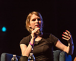 May 19, 2018. Durham, North Carolina.<br /> <br /> Chelsea Manning was the keynote speaker at this year's Moogfest. She took the stage for a conversation with Aminatou Sow at the Carolina Theatre. <br /> <br /> Moogfest 2018 showcases 4 days of music, art and technology spread out amongst venues in and around downtown Durham.