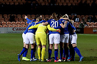 Everton women huddle before Tottenham Hotspur Women vs Everton Women, Barclays FA Women's Super League Football at the Hive Stadium on 12th February 2020