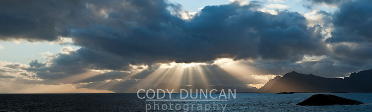 Dramatic light over coastline, Lofoten Islands, Norway