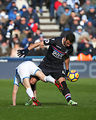 17th March 2018, The John Smiths Stadium, Huddersfield, England; EPL Premier League football, Huddersfield Town versus Crystal Palace; Luka Milivojevic of Crystal Palace tackles Alex Pritchard of Huddersfield Town