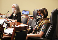"""United States Representative Rosa DeLauro (Democrat of Connecticut), wears a protective face mask as Dr. Robert Redfield, Director of the Centers for Disease Control and Prevention testifies during a US House Labor, Health and Human Services, Education and Related Agencies Subcommittee holds a hearing on """"COVID-19 Response on Capitol Hill in Washington, DC on Thursday, June 4, 2020.      <br /> Credit: Tasos Katopodis / Pool via CNP/AdMedia"""
